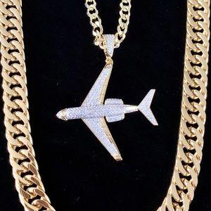 PRIVATE JET SET FULL DIAMONDS CZ 18K GOLD CHAIN